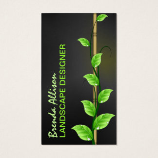 Green Vine Leaves Growing on Bamboo Landscaper Business Card