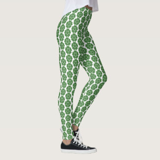 Green Vintage Abstract Round Flower Design Leggings