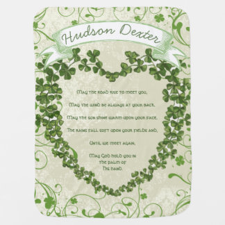 Green Vintage Banner Irish Blessing Clover Heart Baby Blanket
