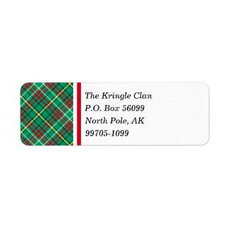Green Vintage Christmas Plaid Return Address Label