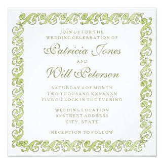 Green vintage elegant garden wedding invitation