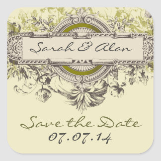 Green Vintage Floral Save The Date Sticker