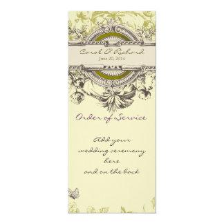 "Green Vintage Floral Wedding Program 4"" X 9.25"" Invitation Card"