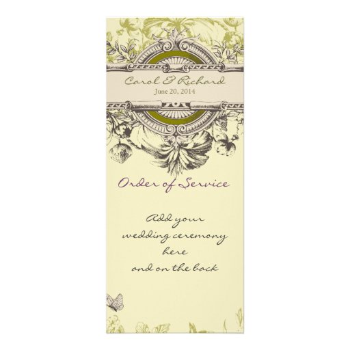 Green Vintage Floral Wedding Program Personalized Invitations