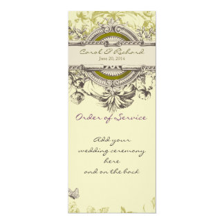 Green Vintage Floral Wedding Program 4x9.25 Paper Invitation Card