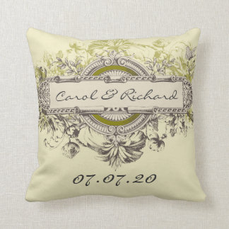 Green Vintage Floral Wedding Sweetheart Pillow