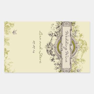 Green Vintage Floral Wedding Wine Sticker