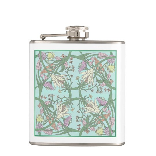 Green Vintage Flowers Flowers Flasks