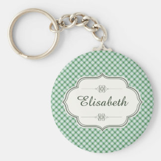 Green vintage gingham calligraphy name basic round button keychain