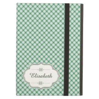 Green vintage gingham calligraphy name case for iPad air