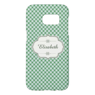 Green vintage gingham calligraphy name samsung galaxy s7 case