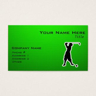 Green Vintage Golfer Business Card