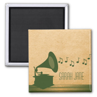Green Vintage Gramophone Magnet