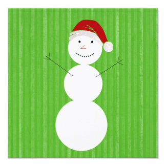 Green Vintage Holiday Snow Man Flat Cards