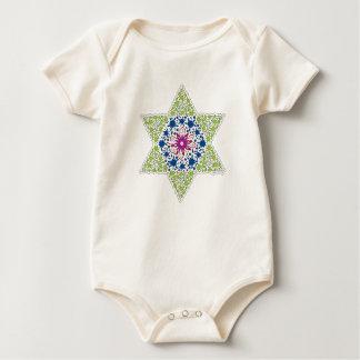 Green Vintage Star of David - Magen David Baby Bodysuit