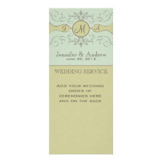 Green Vintage Wedding Programs Personalized Invite