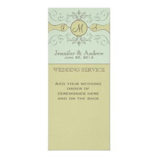 Green Vintage Wedding Programs 4x9.25 Paper Invitation Card