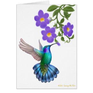 Green Violet Eared Hummingbird on Thunbergia Vine Greeting Card