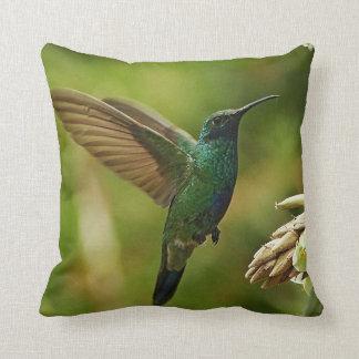 Green Violet-ears Hummingbird Throw Pillow