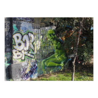 Green Visitor From Outer Space Graffiti Poster