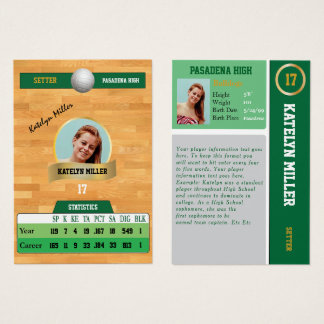 Green Volleyball Sports Trading Card w/ Autograph