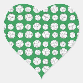 Green volleyballs pattern heart sticker