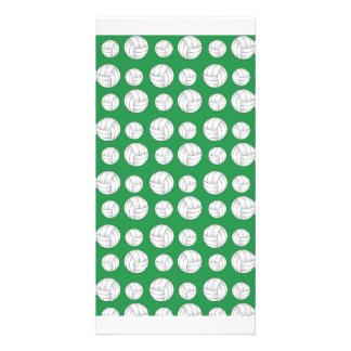 Green volleyballs pattern photo card template