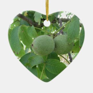 Green walnuts hanging on the tree . Tuscany, Italy Ceramic Heart Ornament