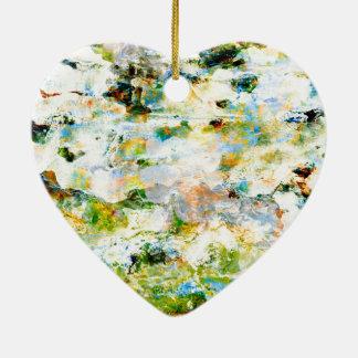 Green water colour grunge graphic design art ceramic heart ornament