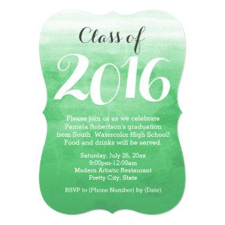 Green Watercolor 2016 Graduation Party Invitation