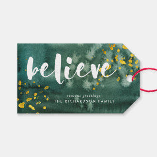 Green Watercolor and Gold Believe Gift Tags
