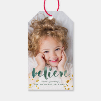 Green Watercolor and Gold Believe | Photo Gift Tags