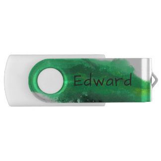 Green Watercolor Brushstroke Splash Swivel USB 3.0 Flash Drive