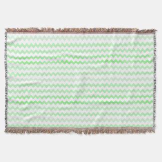 Green Watercolor Chevron Zigzag Pattern Throw Blanket