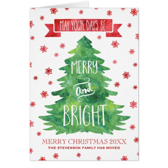 Green Watercolor Christmas Tree We've Moved Card