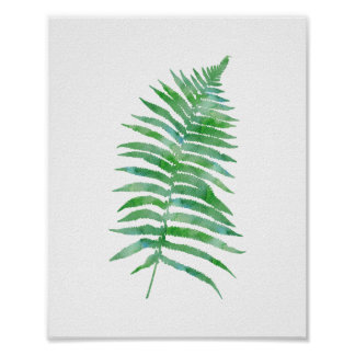 Green Watercolor Fern Plant Poster