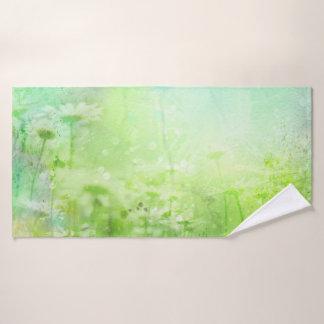 Green Watercolor Floral Bath Towel