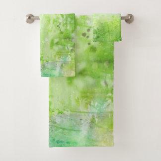 Green Watercolor Floral Bathroom Towel Set