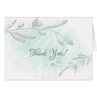 Green Watercolor Floral Bridal Shower Thank You Card