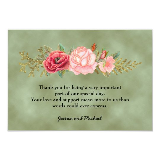 Green  Watercolor Floral Photo Wedding Thank You Card