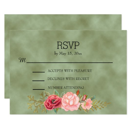 Green Watercolor Floral  Wedding RSVP Card