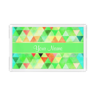Green Watercolor Geometric Triangles Acrylic Tray