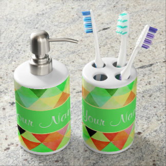 Green Watercolor Geometric Triangles Bathroom Set