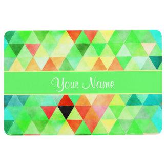 Green Watercolor Geometric Triangles Floor Mat