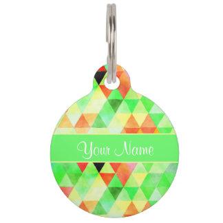 Green Watercolor Geometric Triangles Pet ID Tag