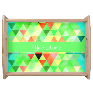Green Watercolor Geometric Triangles Serving Tray
