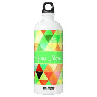Green Watercolor Geometric Triangles Water Bottle