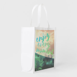 Green Watercolor Jogging Running Inspirational Market Totes