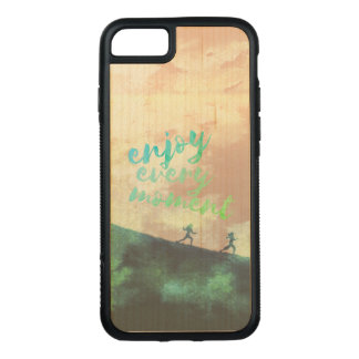 Green Watercolor Jogging Running Typography Carved iPhone 8/7 Case