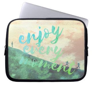 Green Watercolor Jogging Running Typography Laptop Sleeve